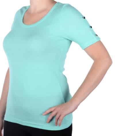 bluzka damska miętowa z krótkim rękawem