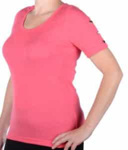 bluzka damska z krótkim rękawem w kolorze malinowym